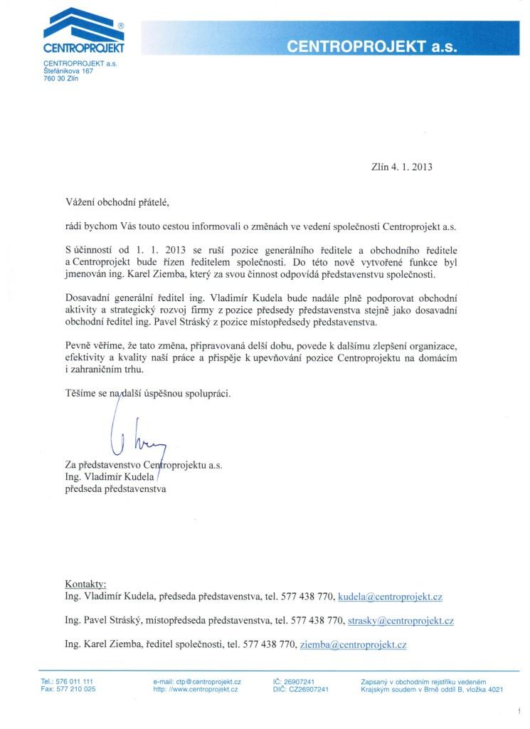 Projekční firma CENTROPROJEKT má nového ředitele