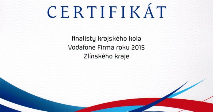 CENTROPROJEKT GROUP se v soutěži Vodafone Firma roku zařadil mezi 10 nejlepších firem Zlínského kraje