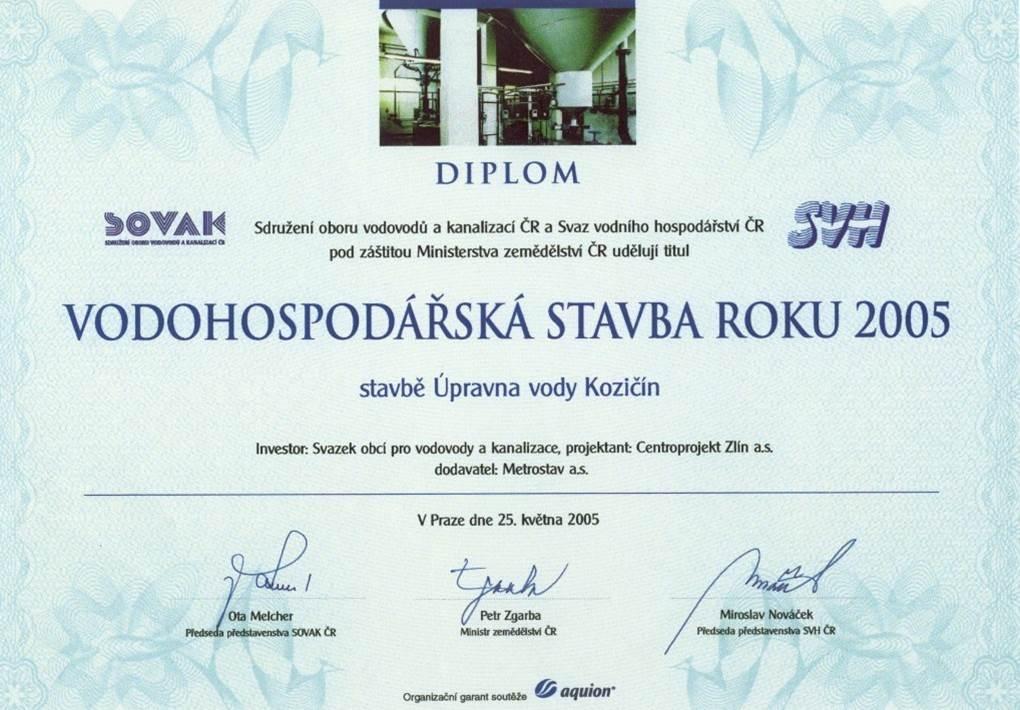 Projekt úpravny vody Kozičín zpracovala projektová kancelář Centroprojekt