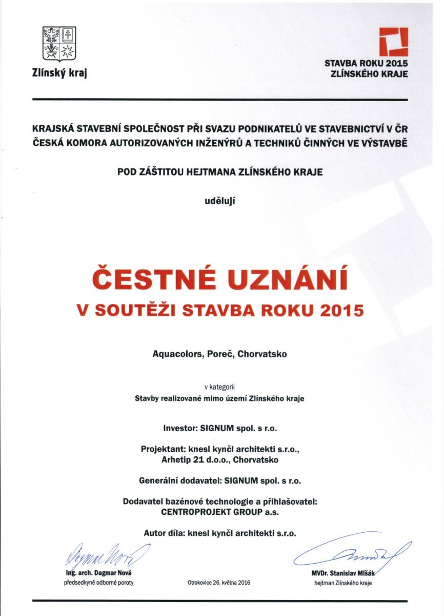 Čestné uznání v soutěži Stavba roku Zlínského kraje získal aquapark Aquacolors v chorvatské Poreči