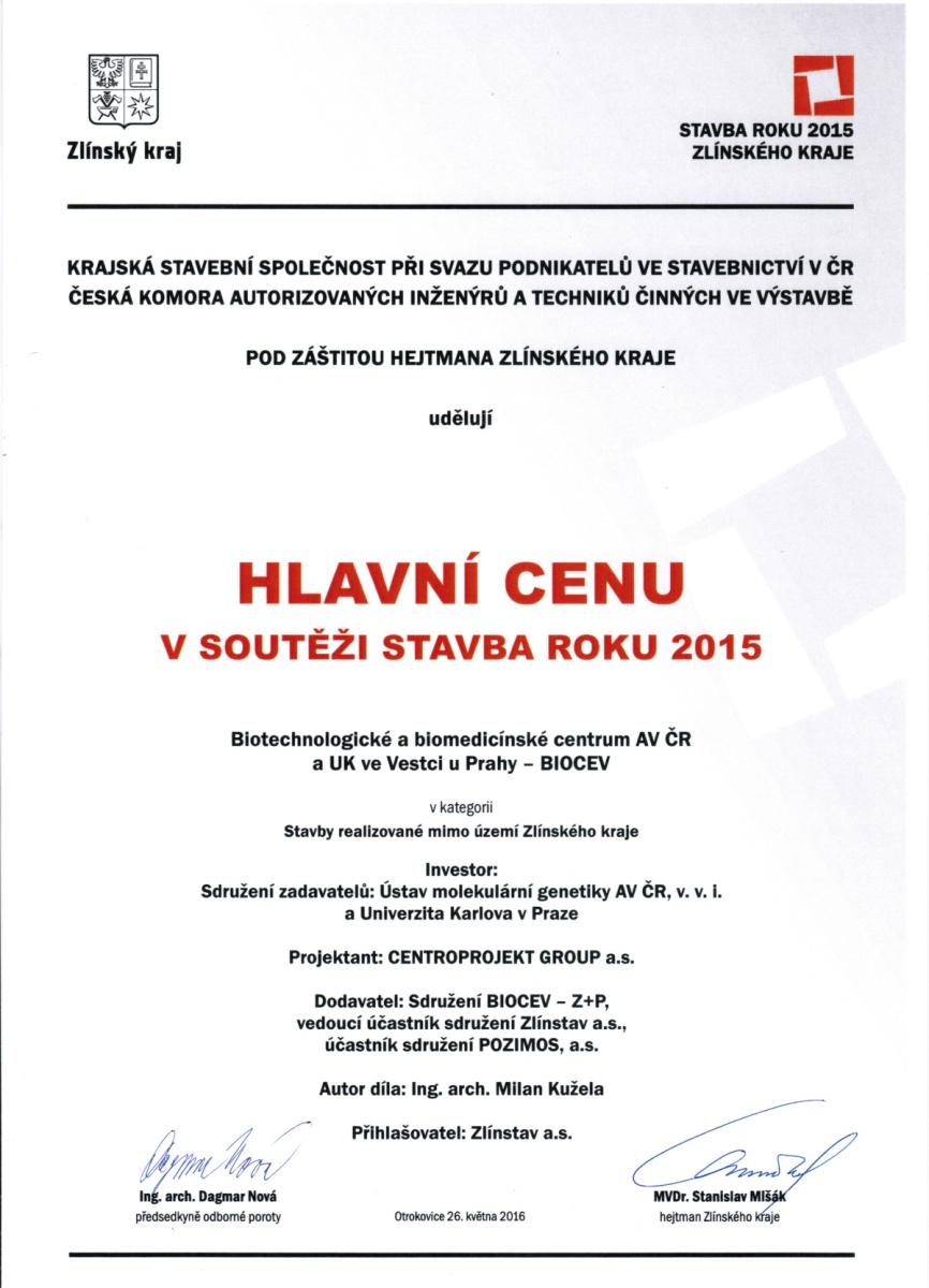 Hlavní cenu v soutěži Stavba roku Zlínského kraje